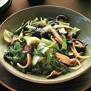 Stir-fried Greens with Pork, Shiitakes, and Black Bean SauceRecipe