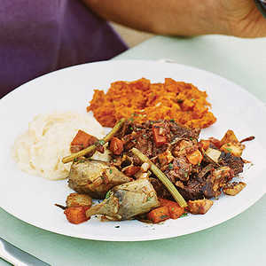 Wine-braised Short Ribs with Parsnips, Carrots, and ArtichokesRecipe