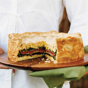 Layered Torta with Ham, Provolone, Spinach, and HerbsRecipe