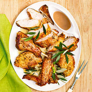 Grilled Butterflied Turkey with Rosemary Garlic Gravy Recipe