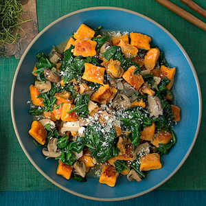 Sweet-Potato Gnocchi with Mushrooms and SpinachRecipe