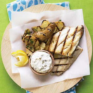 """Grilled Fish and """"Chips"""" Recipe"""
