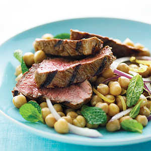 Harissa Lamb with Lemon Mint Chickpea SaladRecipe