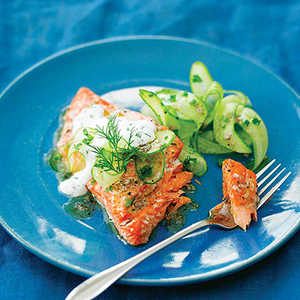 Grilled Salmon with Cucumber SaladRecipe