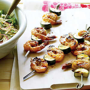 Asian Shrimp and Zucchini Skewers with Noodle SaladRecipe