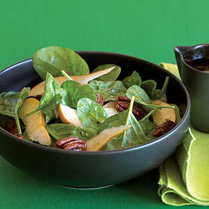 Candied Pecan, Pear, and Spinach SaladRecipe