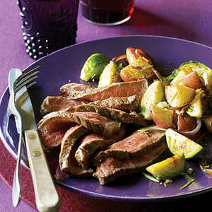 New York Strip Steaks with Brussels Sprout HashRecipe