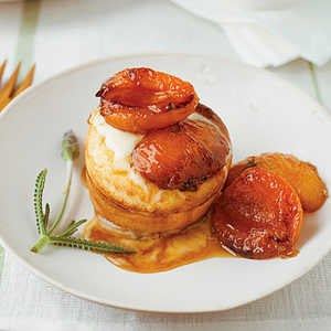 Grilled Apricot Puffs with Honey Creme FraicheRecipe