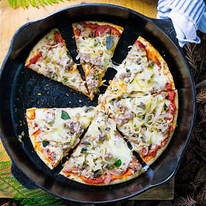 Camp Pizza with Caramelized Onions, Sausage, and Fontina Recipe