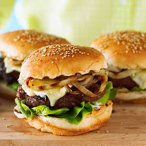 Cherry and Brie Burgers with Rosemary and Grilled OnionRecipe