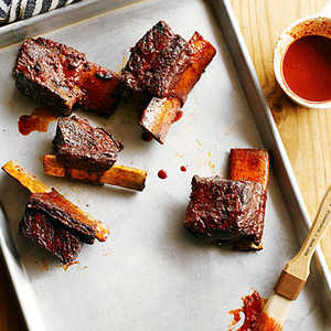 Achiote Short Ribs with Ancho Barbecue Sauce and Avocado RelishRecipe