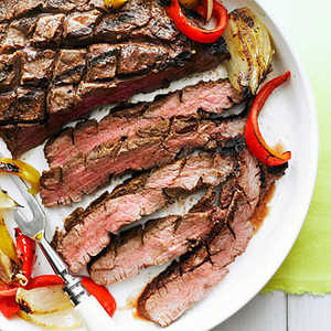 Grilled Flank Steak, Onion, and PeppersRecipe