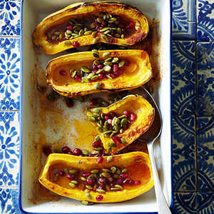 Roasted Delicata Squash with Honey, Pomegranate Seeds, and PepitasRecipe