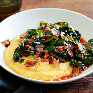 Spicy Rainbow Chard with Bacon and Polenta Recipe