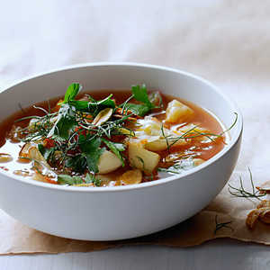 Cabbage and Fennel Soup with Toasted Garlic ChipsRecipe