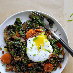 Red Quinoa Bowl with Swiss Chard and Poached EggRecipe