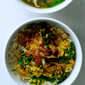 Spiced Red Lentils with Caramelized Onions and SpinachRecipe