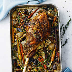 Slow-Roasted Leg of Lamb with Spring Vegetables Recipe