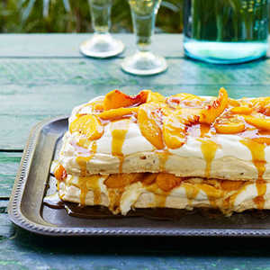 Almond Pavlova with Peaches, Cream, and Salted Peach CaramelRecipe