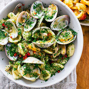 Orecchiette with Clams, Chiles, and ParsleyRecipe
