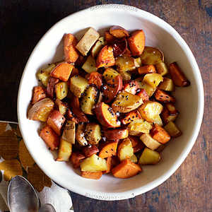 Coconut Pan-Roasted Sweet Potatoes with Sesame SeedsRecipe