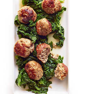 Giant Pork Meatballs with Bitter Greens Recipe