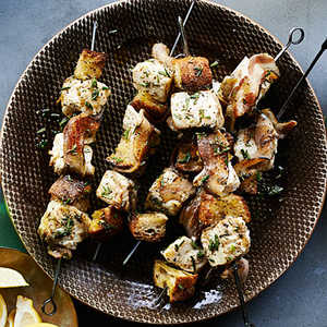 Halibut Kebabs with Grilled Bread and PancettaRecipe