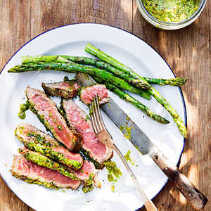 Rib-Eye Steaks with Pistachio Butter and Asparagus Recipe
