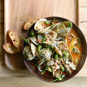 Steamed Clams with Chorizo and Padrón Peppers Recipe