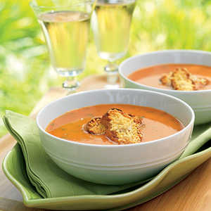 Grill-Roasted Tomato Soup with Parmesan Croutons Recipe