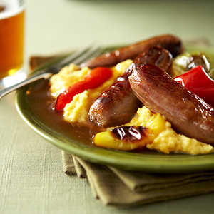 Breakfast Sausage and Peppers with Cheesy EggsRecipe