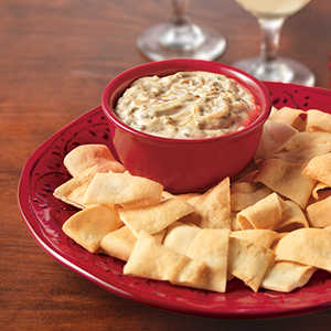 Caramelized Onion Dip served with Pita ChipsRecipe