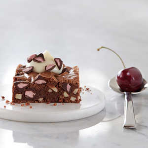 Chocolate Almond Brownies with Cherry Flavored Filled DelightFulls™Recipe
