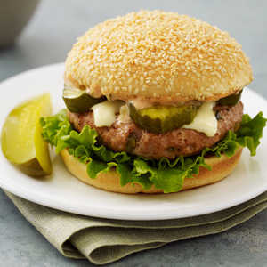 Russian Turkey Burger with Sweet Pickle Sauce