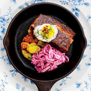 Jerk Pork Belly with Quail Egg and Stewed Fava BeansRecipe