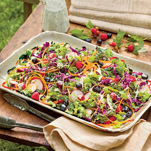 Kale-and-Blueberry Slaw with Buttermilk Dressing Recipe