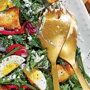 Kale Salad with Buttermilk Dressing and Pickled OnionsRecipe