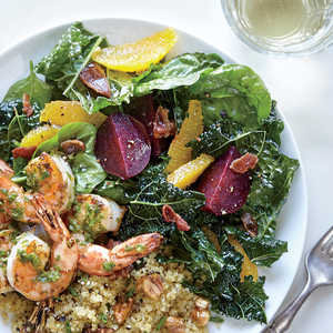 Kale and Spinach Salad with Beets and Roasted Garlic-Citrus Vinaigrette Recipe
