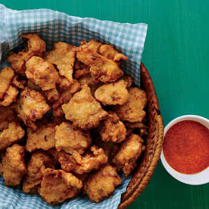 Lionfish Fritters with Red Bell Pepper CoulisRecipe