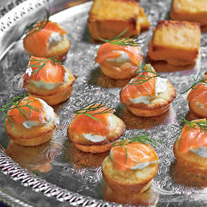 Mini Corn Cakes with Smoked Salmon and Dill Crème FraîcheRecipe