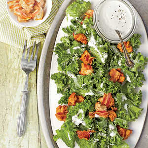 Mustard Greens with Yogurt-Parmesan Dressing and Bacon CroutonsRecipe