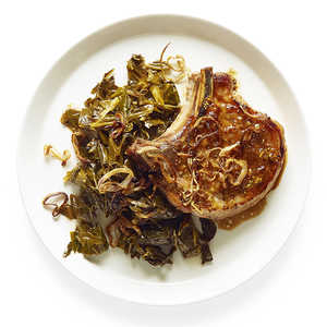 Pan-Roasted Pork Chops with Quick Pickled GreensRecipe