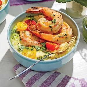 Pan-Seared Shrimp with Chive Grits and Salsa VerdeRecipe