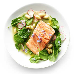 Poached Salmon with White Bean and Radish SaladRecipe