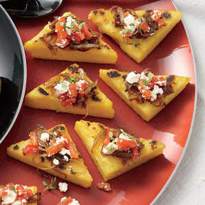 Polenta Toasts with Balsamic Onions, Roasted Peppers, Feta, and ThymeRecipe
