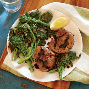 Pork Tenderloin Medallions with Blistered Broccoli Rabe Recipe