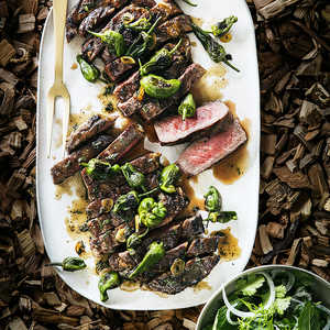 Grilled Rib-Eye Steaks with Blistered Padrón PeppersRecipe