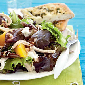<p>Roast Chicken Salad with Peaches, Goat Cheese, and Pecans</p>