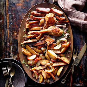Roast Goose with Potatoes, Onions, and AppleRecipe