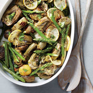 Roasted Asparagus and Baby ArtichokesRecipe